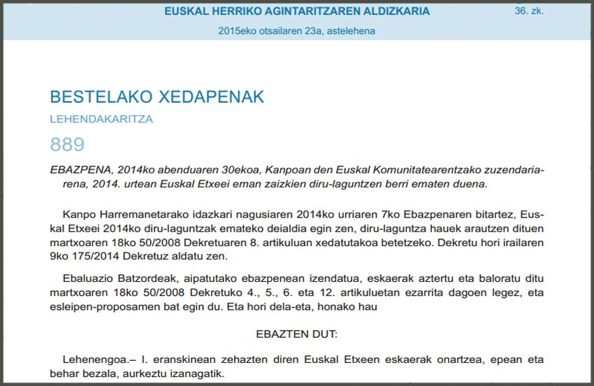 Basque Government's grants for Basque Centers 2014