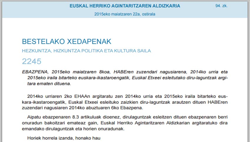 HABE decision 2015 Basque centers