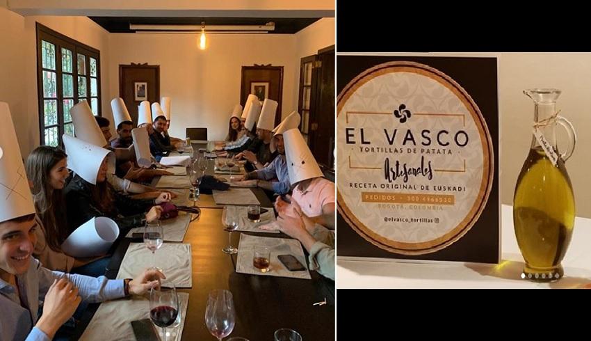 Bogotako Euskal Etxean ospatutako azken festa, 2020ko Danborrada . Eskuinean, 'El vasco'ren publizitatea