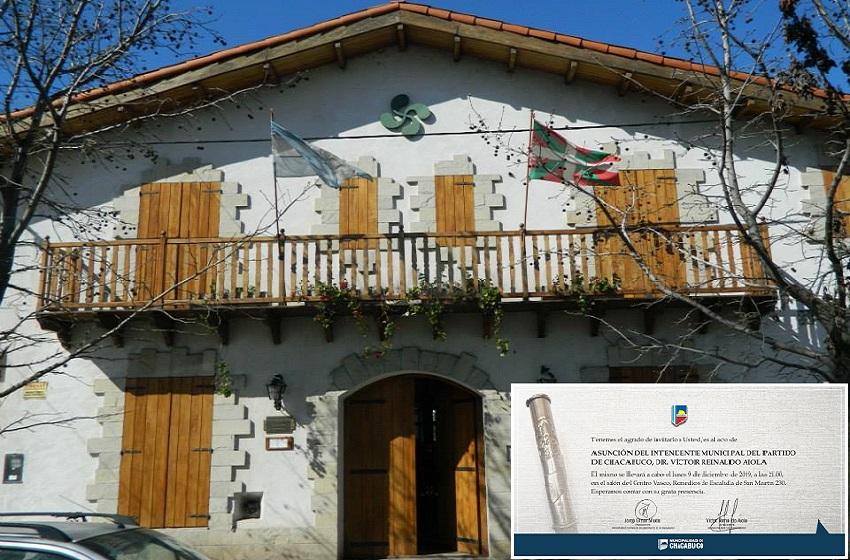 El centro Vasco Guillermo Larregui de Chacabuco y la invitación para el acto de toma de posesión de autoridades hoy lunes