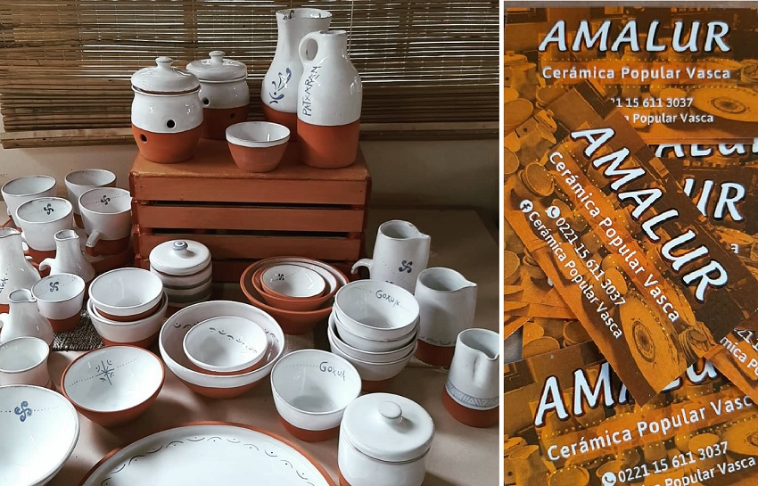 """Some of the productions of """"Amalur,"""" Basque pottery made in Argentina"""