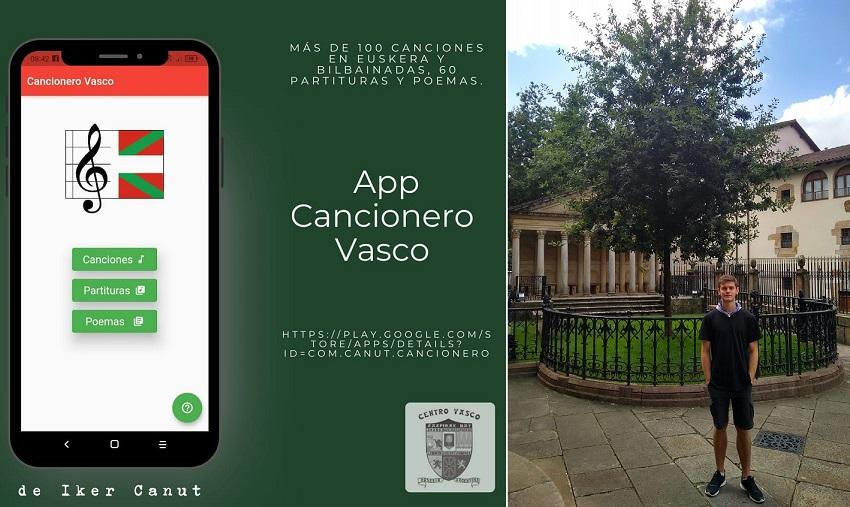 Imagen de la aplicación 'Cancionero Vasco' y su creador, Iker Canut