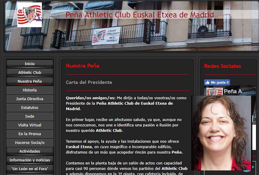 Página web de la Peña del Athletic de Euskal Etxea de Madrid y la blogger y periodista athleticzale Alejandra Herranz