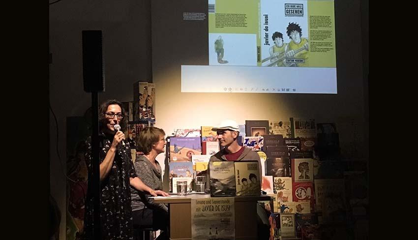 Ainhoa Añorga at the book presentation along with Lea Hubner and Javier de Isusi (photo Berlingo EE-EuskalKultura.com)