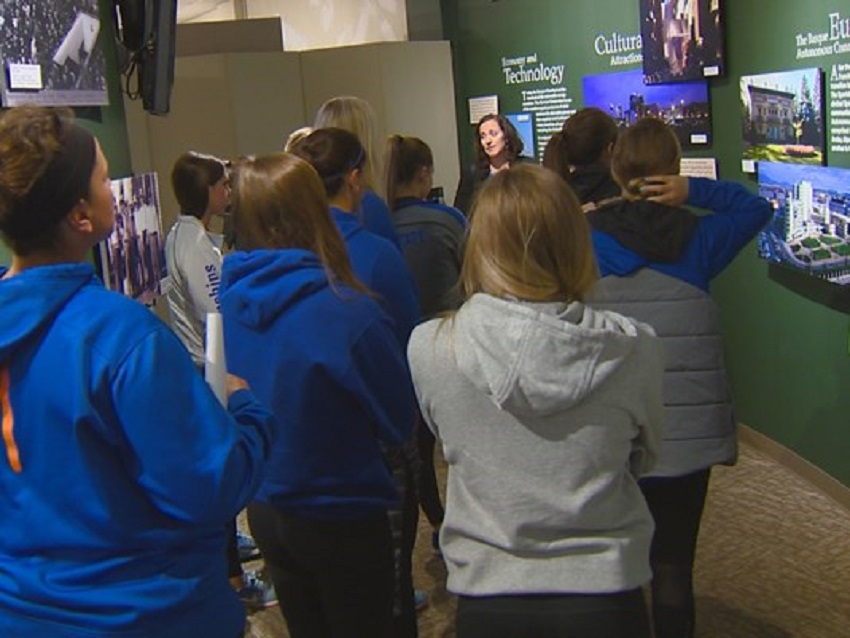 BSU's women's soccer team at the Boise Basque Museum and Cultural Center (photoAdam Worthington/KTVB)