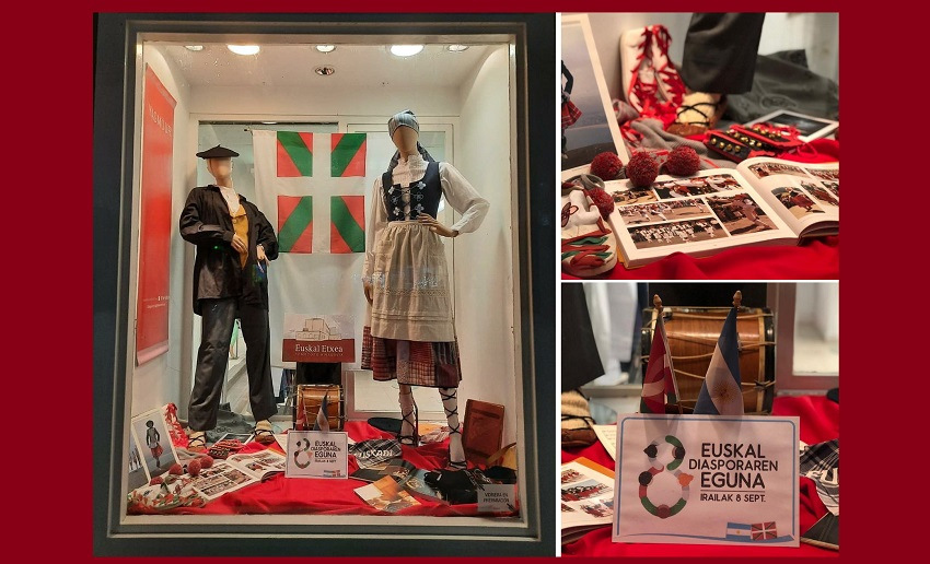 The Euskal Etxea in Comodoro joins in Day of the Basque Diaspora and the local Collectivities festival.  Seen here the Basque shop window at Triax