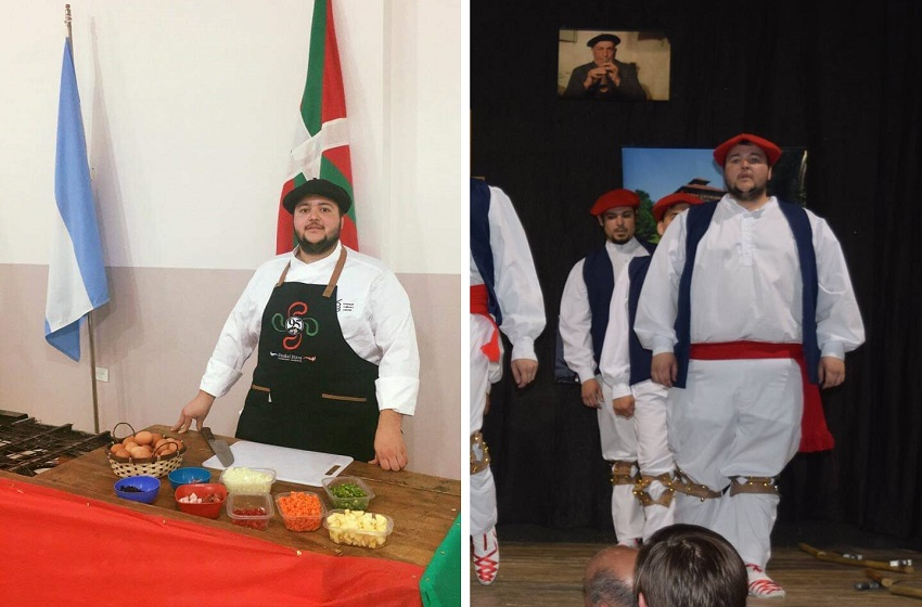 Edu Vergel, Basque sukaldari (cook) and dantzari (dancer) in Comodoro Rivadavia