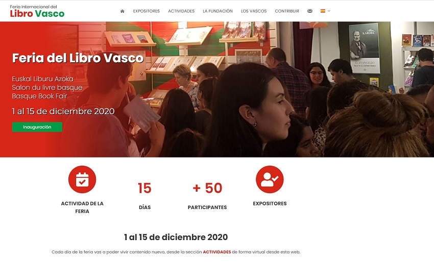 Image of the International Basque Book Fair's website.  It is available in Spanish, Basque, French and English