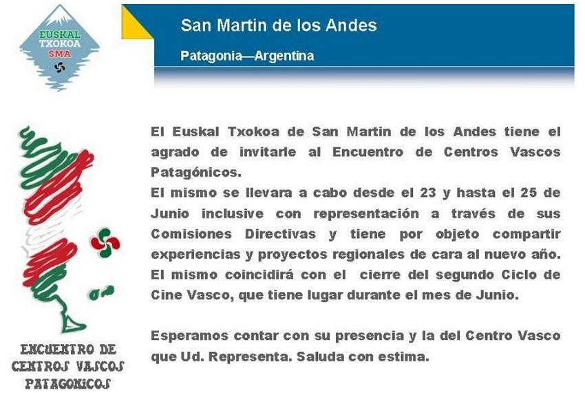 Patagonia Argentinarreko Euskal Etxeen I. Topaketa