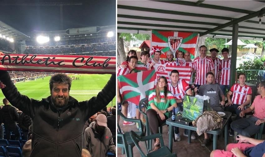 Iker Ruiz, en el estadio y junto a la Peña del Athletic en Caracacas