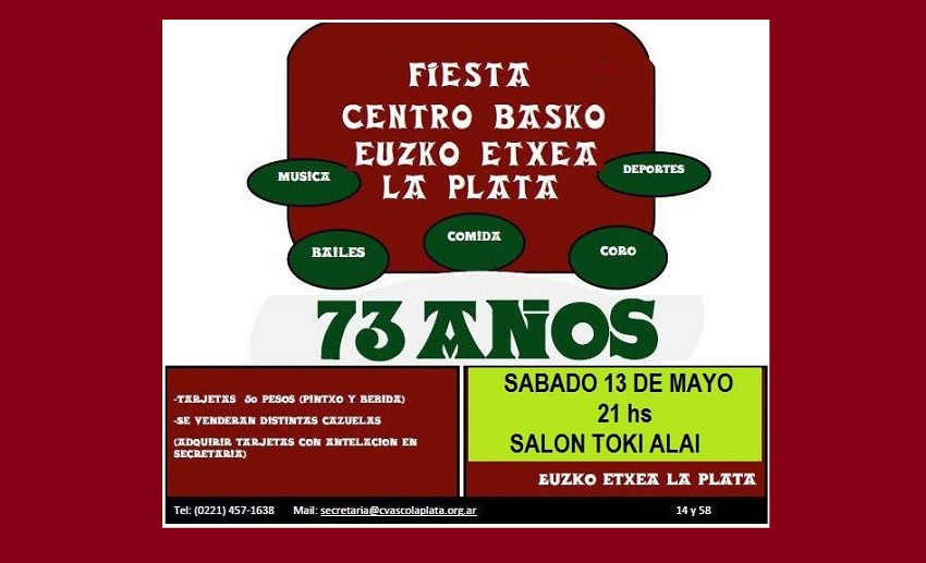 La Platako Euzko Etxearen 73. urteurrena