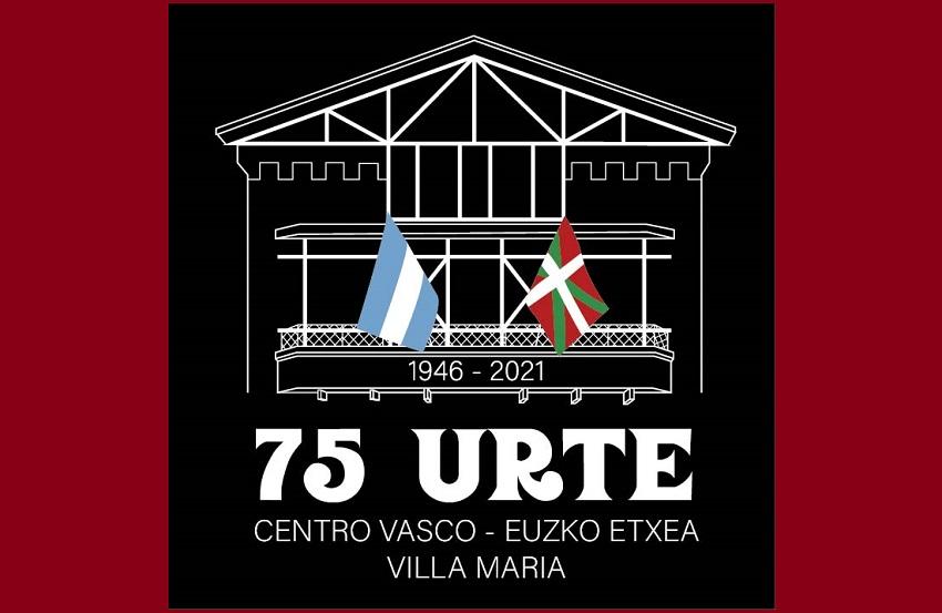 Villa Mariako Euzko Eetxearen 75. ureturren logotipoa