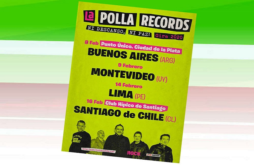 Tour dates for La Polla Records in South America, remember that the concert in Chile has changed venues (it is now at the Bicentennial Stadium) that has a larger capacity