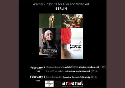 Poster for the film exhibition of Mirentxu Loyarte and Iratxe Fresneda in Berlin with both filmmakers in attendance