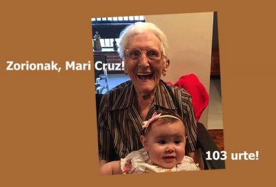 Mari Cruz Díez Lazcano (Elorrio, 1917) celebrated her 103rd birthday on September 14th (thanks, Jazoera)