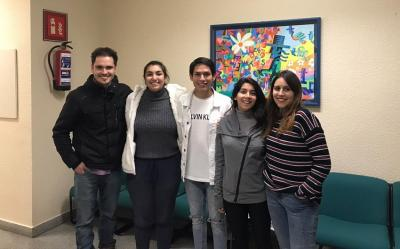 Chilean students at the Zornotza Barnetegi.  From left to right, Gonzalo Salazar, Catalina Bustos, Juan Idrovo, Denisse Valenzuela and Victoria Castro