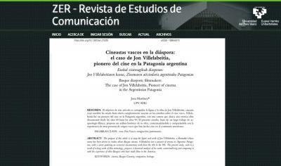 "Research on Jon Villelabeitia in ""ZER"" magazine"