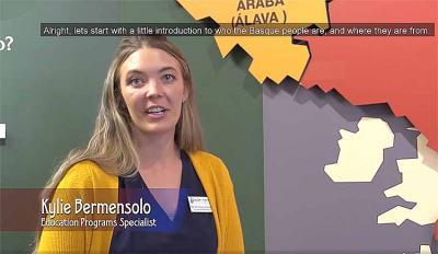 Boiseko Euskal Museoko heziketa programako arduradun Kylie Bermensolo aurkezpen bideoko irudi batean