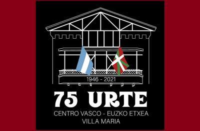 Logo for the 75th anniversary of the Euzko Etxea in Villa Maria