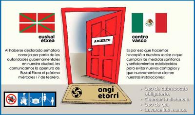 The Euskal Etxea in Mexico will reopen its doors tomorrow after being closed by the Coronavirus