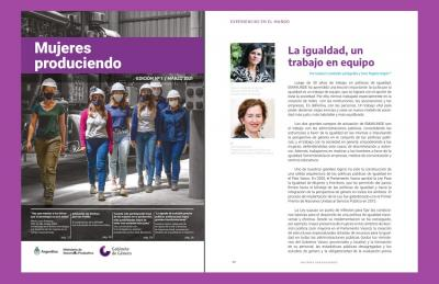 """Izaskun Landaida and Sara Pagola in the """"Mujeres produciendo,"""" magazine by the Ministry of Productive Development in Argentina"""