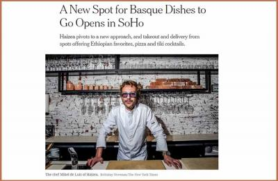 "Chef Mike de Luis in a public note this Tuesday in the ""New York Times"" just before inaugurating the Haizea Restaurant"