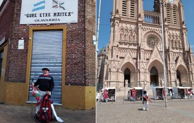 Miguel Boado, at the beginning of the trip in front of the Olavarria Basque Club and at his destination arriving at the Basilica in Lujan