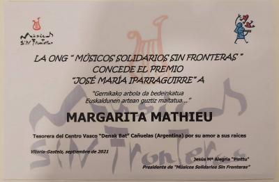 Lehenengoz eman du aurten 'Iparragirre' saria Gasteizko 'Músicos sin fronteras' ONGak