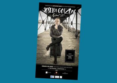 Concert poster for Joseba Gotzon who will play the Spanish Stadium next week in Santiago invited by the Basque Community of Chile Basque Club