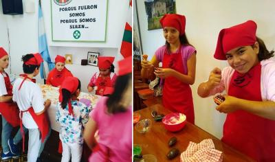 Little sukaldaris at the gastronomy workshop at Eusko Biltzar in Coronel Pringles at classes offered every Saturday