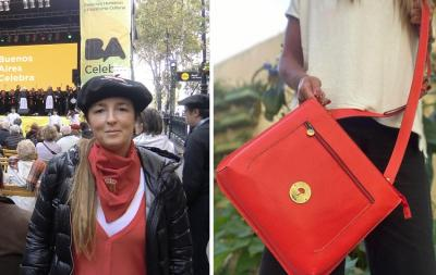 Vera Lisa Bergalli Erviti en el festival 'Buenos Aires Celebra al País Vasco'; a la izquierda,uno de sus diseños
