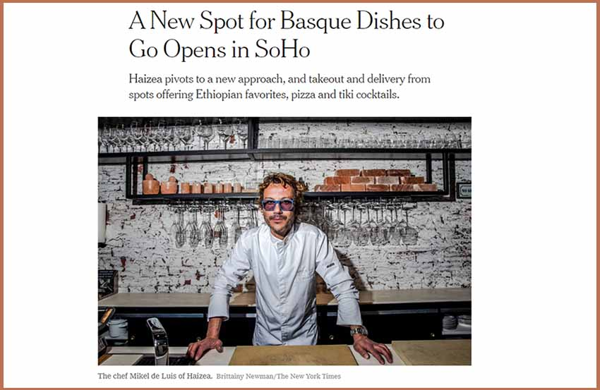 """Chef Mike de Luis in a public note this Tuesday in the """"New York Times"""" just before inaugurating the Haizea Restaurant"""