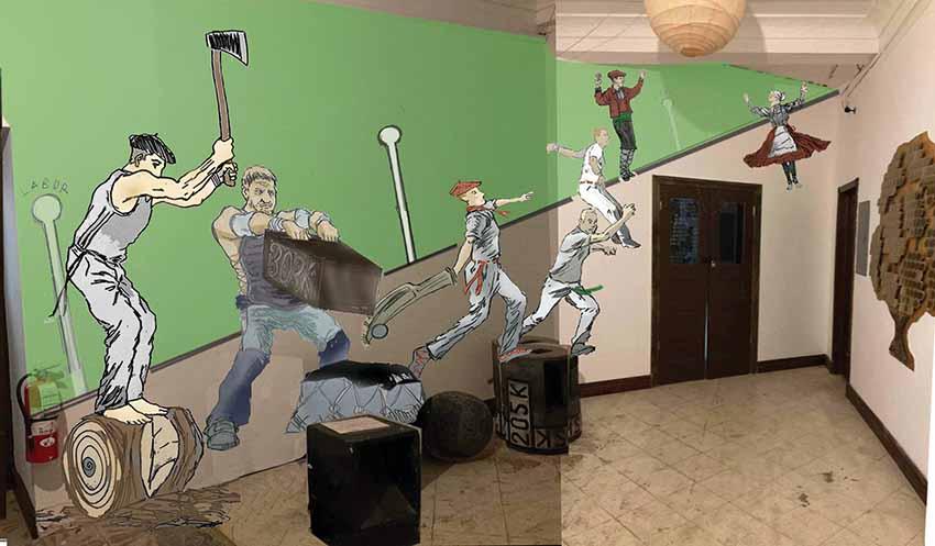 Guillermo Zubiaga's project for the Eusko Etxea Basque Club's entrance hall in New York