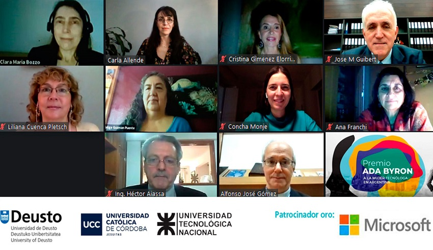 """Virtual meeting about the presentation of the """"Ada Byron Female Technologist Award,"""" in Argentina"""