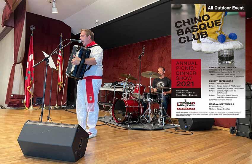 El músico y jotero Iñaki Reta actuó el pasado fin de semana en las Fiestas Vascas de San Francisco y lo hará este en las de Chino