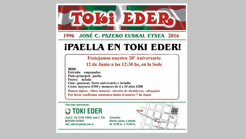 Toki Eder Euskal Etxearen 20. urteurrena