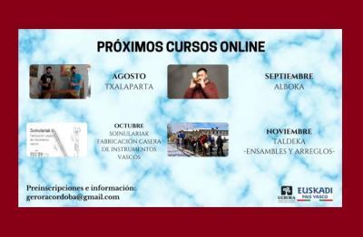 Algunos de los próximos cursos y talleres de música vasca que ofrece Gerora desde Córdoba, Argentina