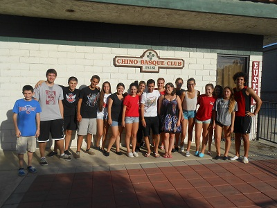Basque youth in front of Chino's Basque Club headquarters