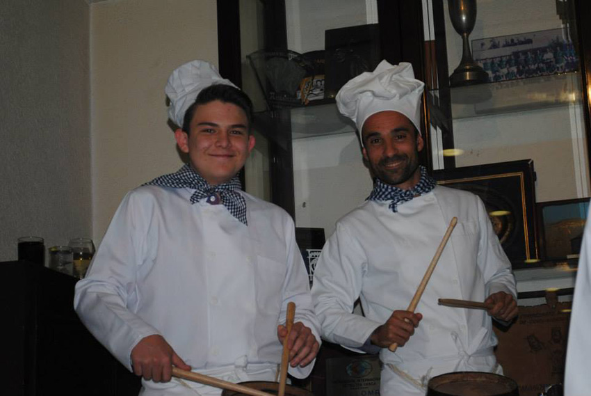 Fun and smiles among the drummers