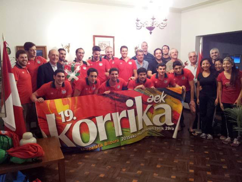 The Basque Waterpolo team supporting Korrika in Lima
