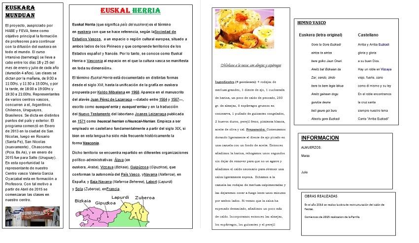 Boletín 'Zelaiko Euskal Etxea'