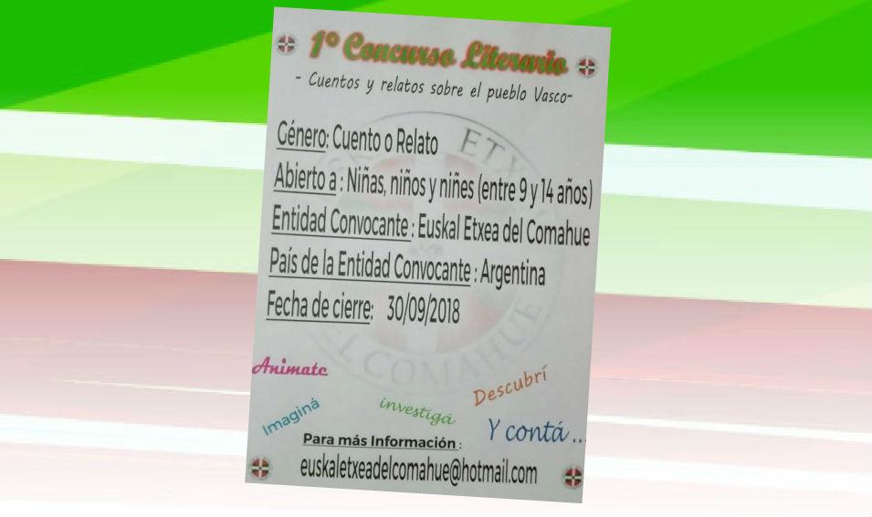 1º Concurso Literario sobre el Pueblo Vasco organizado por Euskal Etxea del Comahue