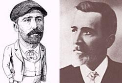 El bertsolari Pedro Mari Otaño, abuelo de Magdalena Mouján (caricatura de Bittoriano Iraola)