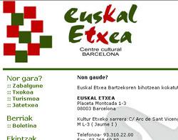 Así luce la renovada página web de Euskal Etxea de Barcelona (foto euskalkultura.com)