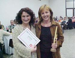 Graciana Goicoechandia y Mónica Azpiazu, presidentas respectivamente de los centros vascos de Las Flores y Laprida