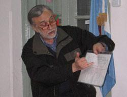 Un momento de la exposición que realizó el Lic. Santiago Tettamazi, uno de los ex combatientes que disertó en el CV de General Rodríguez