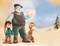 Uno de los momentos de la película vasca, con Olentzero y sus protagonistas principales