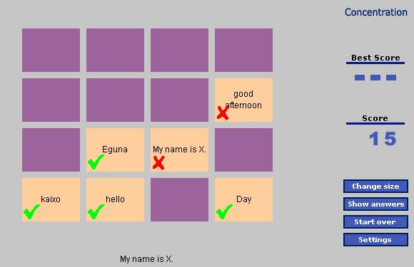 Un juego para poner a prueba concentración y conocimientos de euskera e inglés