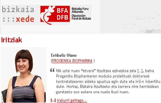 Estibaliz Olano es una de las investigadoras que se ha beneficiado del programa (foto bizkaia:xede.org)