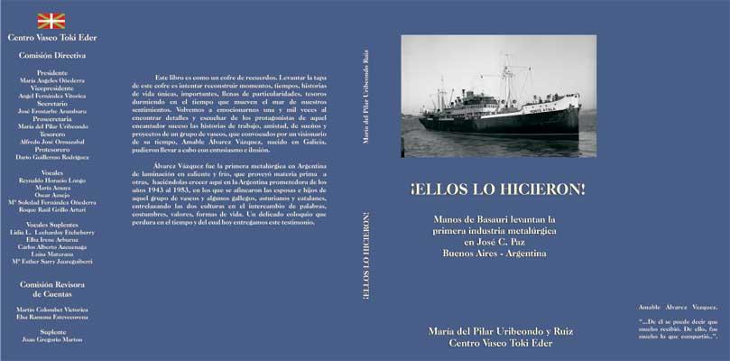 Portada del libro diseñada por el hijo de Pilar. El barco que se ve es el Monte Ayala, aquel que trajo a los cuatro primeros empleados de Álvarez Vázquez a Argentina